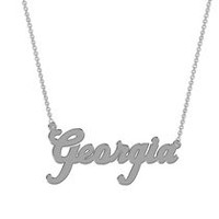Women's Sterling Silver Name Plate with Chain - Georgia