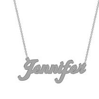 Women's Sterling Silver Name Plate with Chain - Jennifer