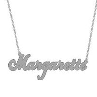 Women's Sterling Silver Name Plate with Chain - Margarette