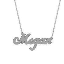 Women's Sterling Silver Name Plate with Chain - Megan