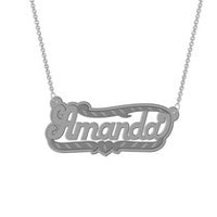 "Sterling Silver Personalized ""Amanda"" Double  Nameplate"