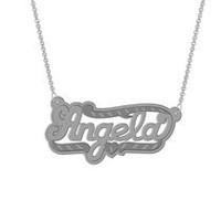 "Sterling Silver Personalized ""Angela"" Double Nameplate"