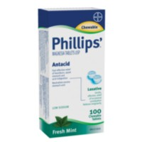 Phillips' Milk of Magnesia - 100 comprimés à croquer