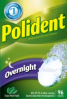 Polident Overnight Antibacterial Triple Mint Fresh Denture Cleanser