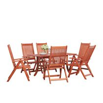 Malibu Outdoor Patio 7-piece Wood Dining Set with Curvy Leg Table & Reclining Chairs
