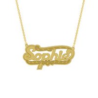 "Gold Over Sterling Silver Personalized ""Sophie"" Double Nameplate"