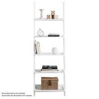hometrends 5-Tier Solid Wood White Leaning Bookcase