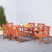 Malibu Outdoor Patio 7-piece Wood Dining Set with Curvy Leg Table