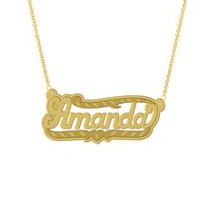 "Gold Over Sterling Silver Personalized ""Amanda"" Double Nameplate"