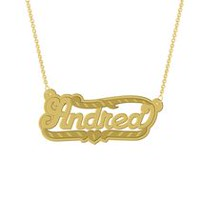 "Gold Over Sterling Silver Personalized ""Andrea"" Double Nameplate"