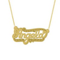 "Gold Over Sterling Silver Personalized ""Angela"" Double Nameplate"