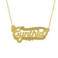 "Gold Over Sterling Silver Personalized ""Cynthia"" Double Nameplate"