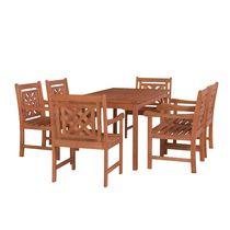 Malibu Outdoor 7-piece Wood Patio Rectangular Table Dining Set