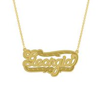 "Gold Over Sterling Silver Personalized ""Georgia"" Double Nameplate"