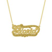 "Gold Over Sterling Silver Personalized ""Gloria"" Double Nameplate"