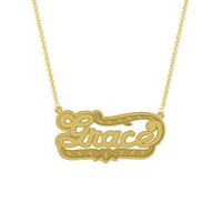 "Gold Over Sterling Silver Personalized ""Grace"" Double Nameplate"