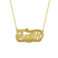 "Gold Over Sterling Silver Personalized ""Judith"" Double Nameplate"