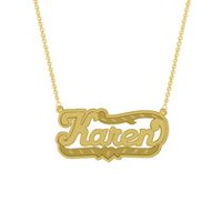 "Gold Over Sterling Silver Personalized ""Karen"" Double Nameplate"