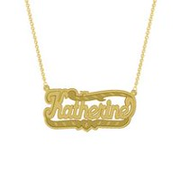 "Gold Over Sterling Silver Personalized ""Katherine"" Double Nameplate"