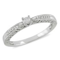 Miabella 0.10 Carat Total Weight Diamond Promise Ring in 10 KT White Gold 9 9