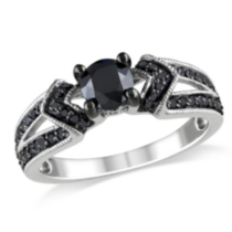 1 Carat Total Weight Black Diamond Engagement Ring in Sterling Silver 9 9