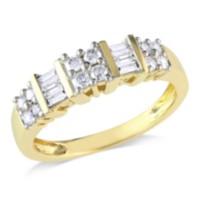 Miabella 0.50 Carat Total Weight Round and Baguette Cut Diamond Anniversary Ring in 14 KT Yellow Gold (G-H; I2-I3) 6