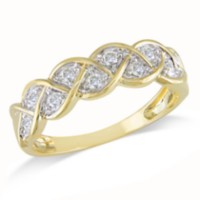 Miabella 0.25 Carat Total Weight Diamond Braid Ring in 10 KT Yellow Gold (G-H; I2-I3) 5