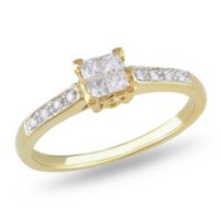 Miabella 025 Carat Total Weight Princess And Round Cut Diamond Engagement Ring In 10 KT Yellow Gold