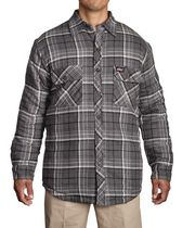 Genuine Dickies Mens Quilted Button Shirt L Grey