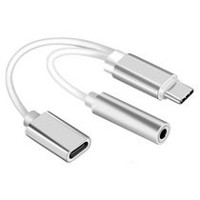 exian type-c usb to aux female adapter with charging connection silver