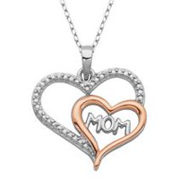 "PAJ Sterling Silver Two Tone ""Mom"" Rose Gold Plated Double Heart Pendant"