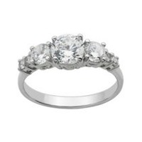 """Bride to Be"" Sterling Silver 7-Stone Cubic Zirconia Ring 6"
