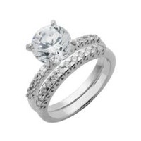"""Bride to Be"" Sterling Silver 8mm Round Cubic Zirconia Engagement Ring Set 9"