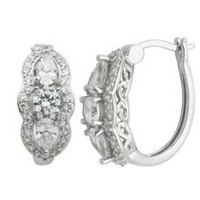 """Bride to Be"" Sterling Silver 3-Stone Cubic Zirconia Hoop Earrings"