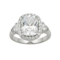 """Bride to Be"" Sterling Silver Cubic Zirconia Cushion Cut Ring 6"