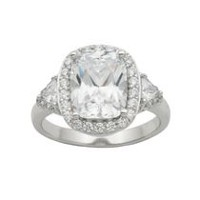 """Bride to Be"" Sterling Silver Cubic Zirconia Cushion Cut Ring 9"