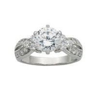 """Bride to Be"" Sterling Silver 8mm Round Cubic Zirconia Solitaire Ring 7"