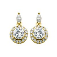 """Bride to Be"" Sterling Silver & 18K Gold Plated CZ Halo Drop Earrings"