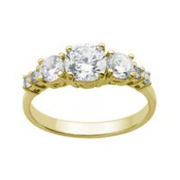"""Bride to Be"" Sterling Silver & 18K Gold Plated 7-Stone Cubic Zirconia Ring 8"