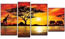 Design Art- Modern African Landscape - Hand Painted Canvas Painting -52 x 30 in - 4 Panels