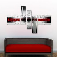 "Design Art ""Red White and Silver Abstract"" Hand Painted Textured Landscape Canvas Painting-63 x 37 in - 5 Pieces"