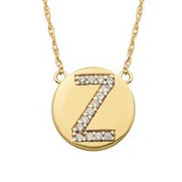Personalized CZ Initial 10kt Gold Disc Pendant Necklace, 18""