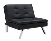 DHP Chelsea Black  Faux-Leather Convertible Chair