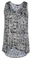 George Women's Printed Burnout Knit Tank Top Black XL