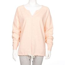 Danskin Women's Plus Size Y-Neck Popover Long-Sleeved Top Coral 3X
