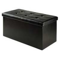Winsome Ashford Faux Leather Ottoman with Storage Black