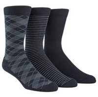 Happy Foot by McGregor Men's 3-Pair Plaid Crew Socks Navy, Navy, Navy
