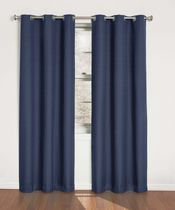 Eclipse Suede Thermaback Curtain  Panels Blue