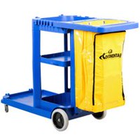 Continental Gray Janitor Cart with Vinyl Bag