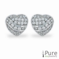 Micro Pave CZ Heart Stud Earrings Sterling Silver